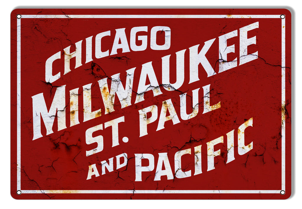 Distressed Looking Chicago Milwaukee Railroad Sign 12″x18″