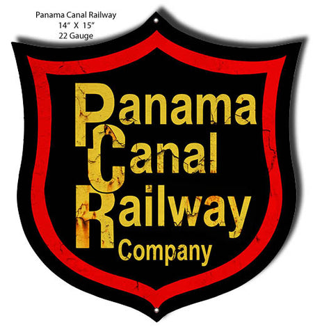 Aged Looking Panama Railroad Laser Cut Out 14″x15″