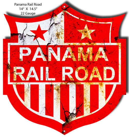 Distressed Panama Railroad Laser Cut Out 14″x14.5″