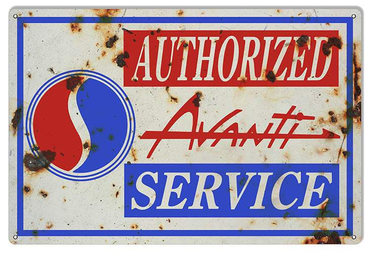 Aged looking Avanti Authorized Service Gas Station Reproduction Sign 12″x18″