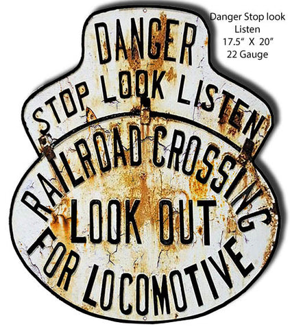 Danger Stop Look Railroad Crossing Laser Cut Out Reproduction 17.5″x20″