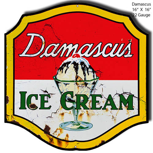 Damascus Ice Cream Laser Reproduction Cut Out Sign 16″x16″