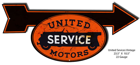 Aged Looking United Motors Laser Cut Out 10.5″x23.5″