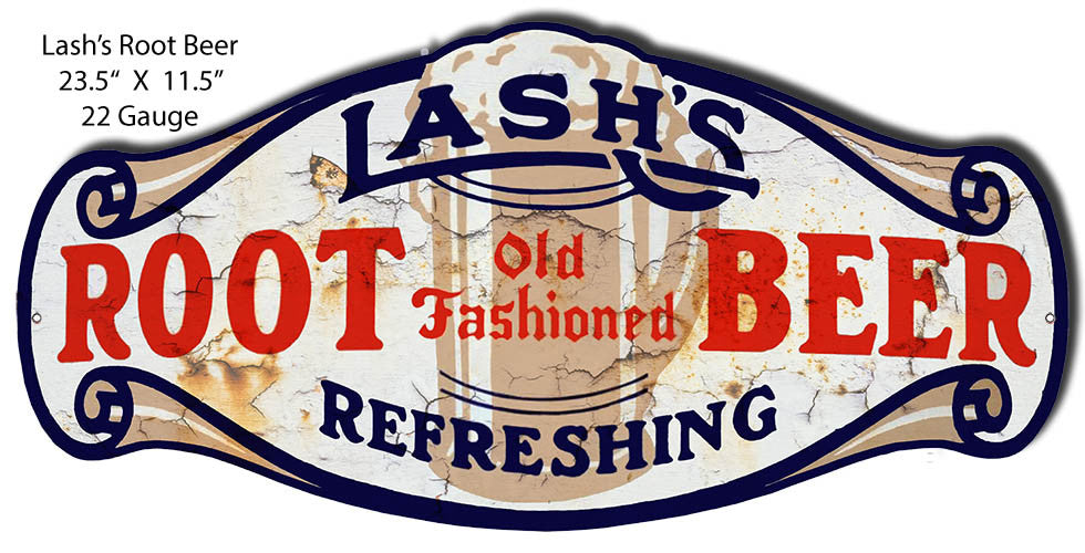 Lashs Root Beer Laser Cut Out Reproduction Sign 11.5″x23.5″