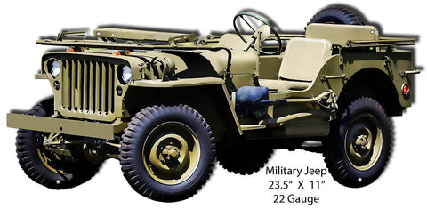Military Jeep Laser Cut Out Reproduction Sign 11″x23.5″