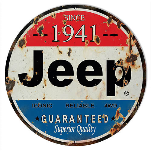 Aged Looking 1941 Jeep Reproduction Sign 14″x14″