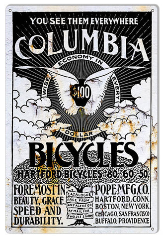 Columbia Bicycles Reproduction Sign 12″x18″