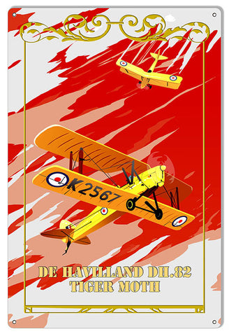 Tiger Moth Reproduction Aviation Sign 12″x18″