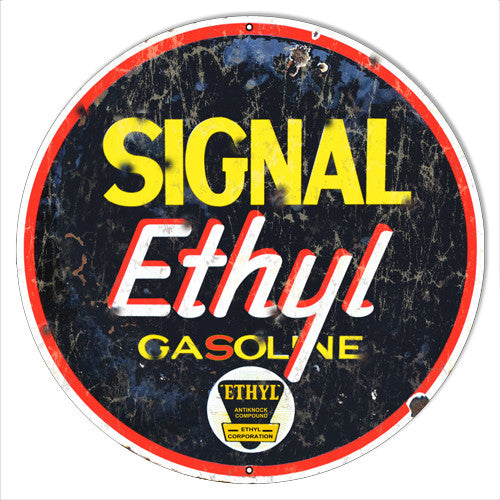 Aged Metal  Signal Ethyl Reproduction Motor Oil Metal  Sign 14″x14″
