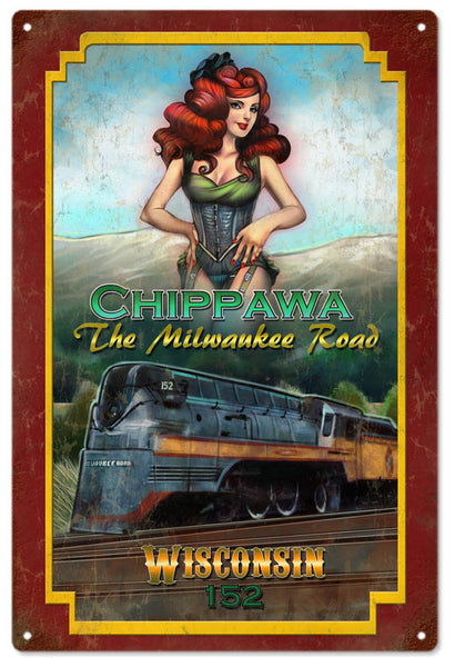 CHIPPAWA MILWAUKEE ROAD PIN UP GIRL RAILROAD SIGN