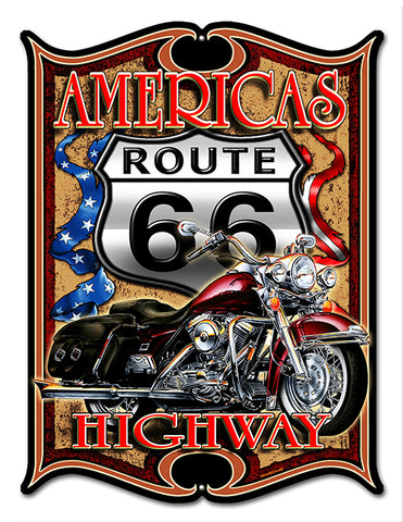 "Route 66 Highway Reproduction Cut Out By Steve McDonald Sign 14""x18"""