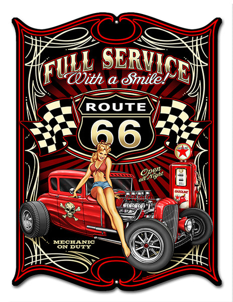 "Route 66 Pin Up Girl Laser Cut Out By Steve McDonald Sign 14""x18"""
