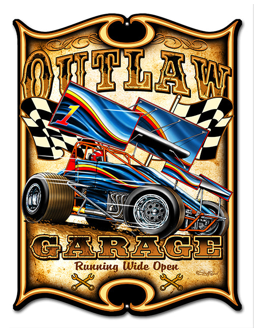 "Outlaw Garage Laser Cut Out Hot Rod Sign By Steve McDonald 14""x18"""