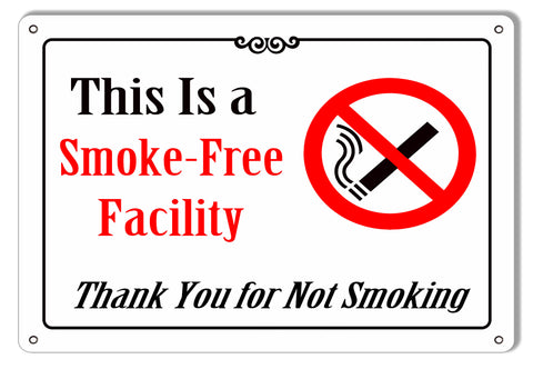"Smoke Free Facility Reproduction Bar Sign 9""x12"""