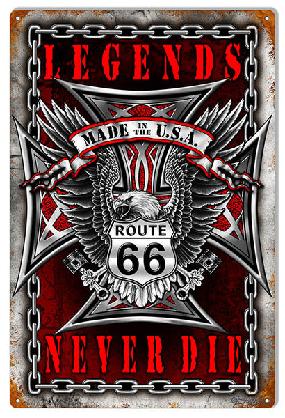 "Route 66 Legends Never Die Garage Shop Sign By Steve McDonald 12""x18"""