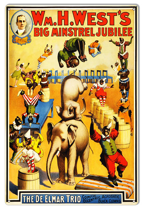 "WM.H.Wests Big Minstrel Jubilee Reproduction Circus Sign 12""x18"""