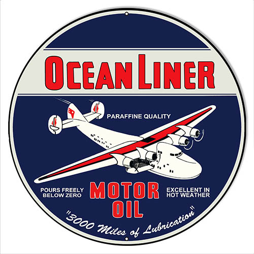 "Ocean Liner Motor Oil Reproduction Gas Station Sign 14""x14"" Round"