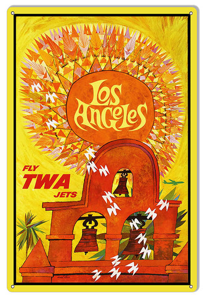 TWA Airlines Los Angeles Reproduction Nostalgic Sign 12x18