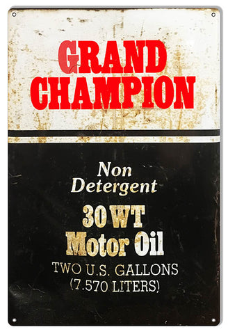 Grand Champion Reproduction Motor Oil Sign 12x18