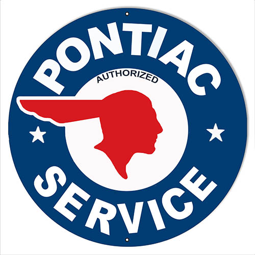 "Pontiac Service Gas Station Reproduction Garage Shop Sign 14""x14"" Round"