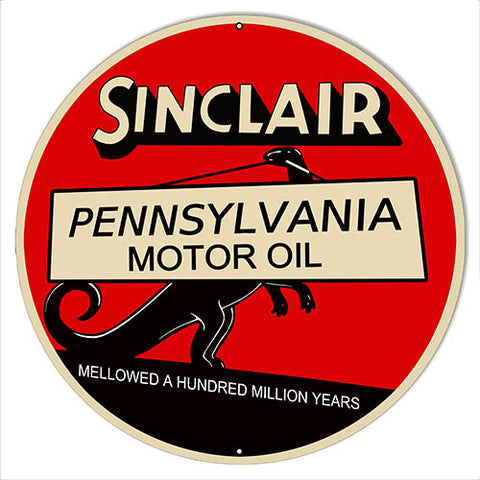 "Sinclair Motor Oil Reproduction Gas Station Sign 14""x14"" Round"