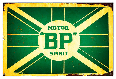 BP Motor Spirits Reproduction Gas Station Motor Oil Sign 12″x18″