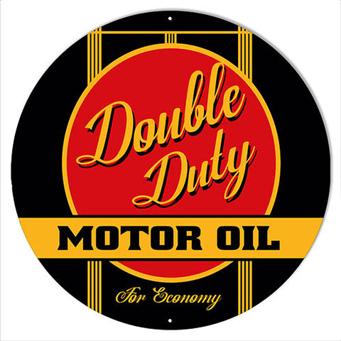 Double Duty Motor Oil Gas Station Reproduction Sign 18″x18″ Round
