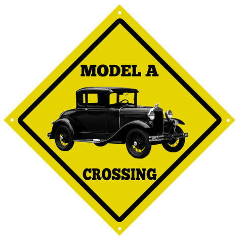 Classic Model A Crossing Black Vintage Automobile Garage Shop Sign 12″x12″