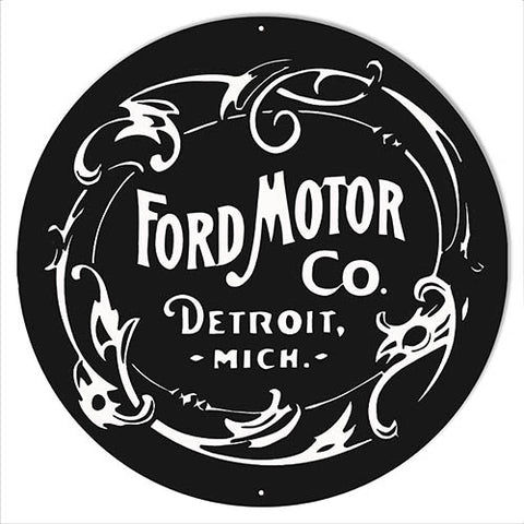"Ford Motor Garage Shop Reproduction Automobile Sign 14""x14"" Round"