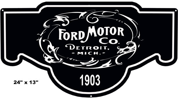 Ford Motors Black 1903 Car Laser Cut Out Reproduction Sign 13″x24″