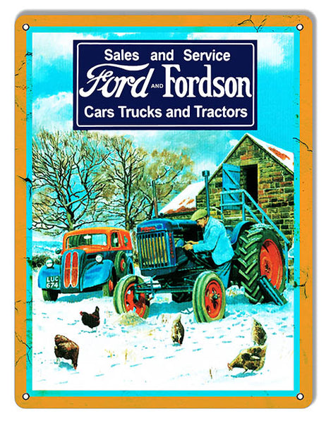 Ford And Fordson Trucks And Tractors Reproduction Garage Shop And Country Sign 9″x12″