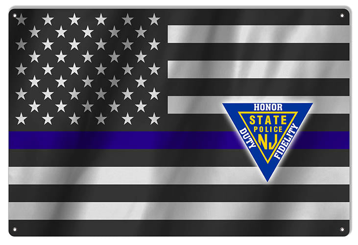 Blue Lives Matter Honor NJ Police Reproduction Flag 12″x18″