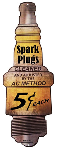 Spark Plugs Gas Station Motor Oil Reproduction Sign 9″x24″