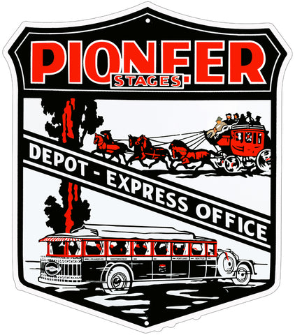 Pioneer Stagecoach Depot Red Nostalgic Reproduction Sign 18″x20.5″