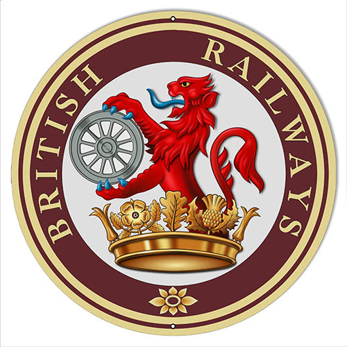Lion British Railway Logo Reproduction Railroad Sign 14″x14″ Round