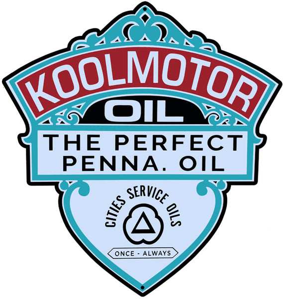 Cities Service Kool Motor Oil Reproduction Laser Cut Out Sign 18″x19″