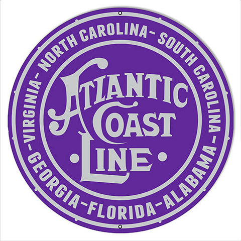 Atlantic Coast Line Railroad Herald Reproduction Sign 14″x14″ Round