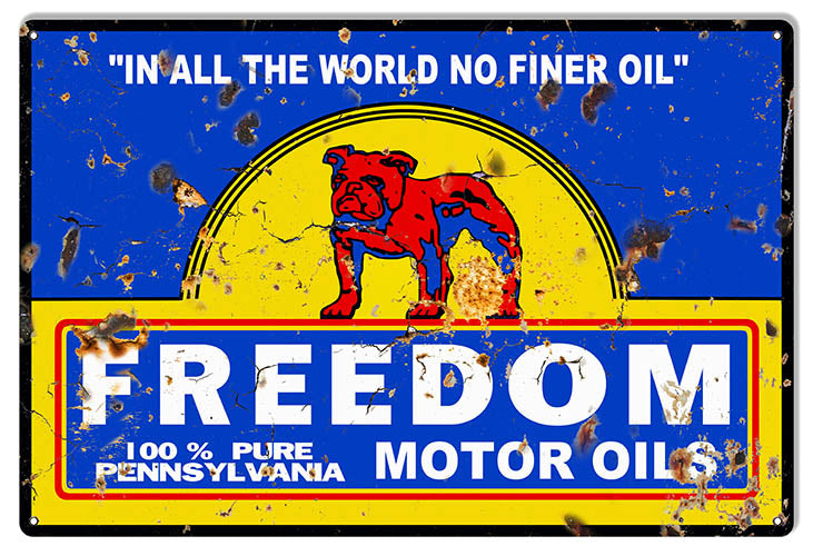 Freedom Motor Oils Vintage Reproduction Large Gas Station Sign 16″x24″