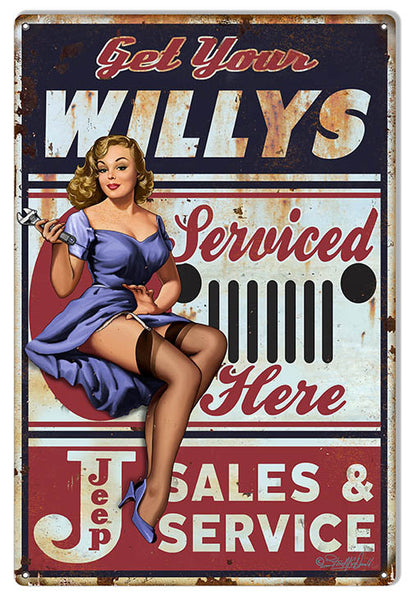 Jeep Willys Pin Up Girl By Steve McDonald Reproduction Sign 12″x18″