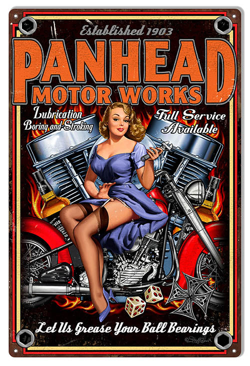 Garage Shop Panhead Motor Works By Steve McDonald Sign 12″x18″