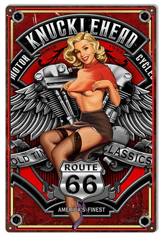 Route 66 Motorcycle Pin Up Girl By Steve McDonald Sign 12″x18″