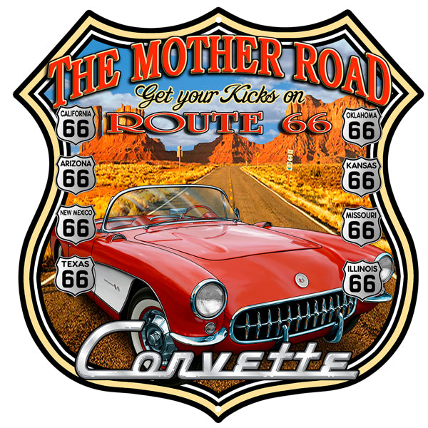 Corvette Route 66 Garage Shop By Steve McDonald Sign 15″x15″