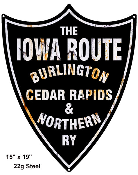 Iowa Route Reproduction Laser Cut Out Railroad Sign 15″x19″