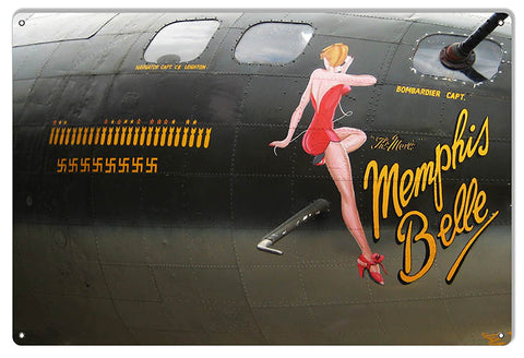 Nose Art Memphis Belle Reproduction Aviation Sign 12″x18″