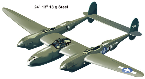 Lockheed P-38 Lightning Laser Cut Out Reproduction Aviation Sign 13″x24″