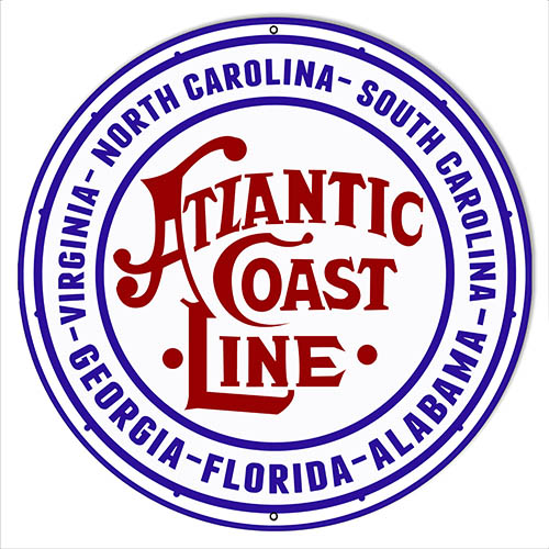 Atlantic Coast Line Reproduction Railroad Herald Sign 14″x14″ Round