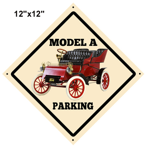 Model A Truck Parking Reproduction Vintage Automobile Sign 12″x12″