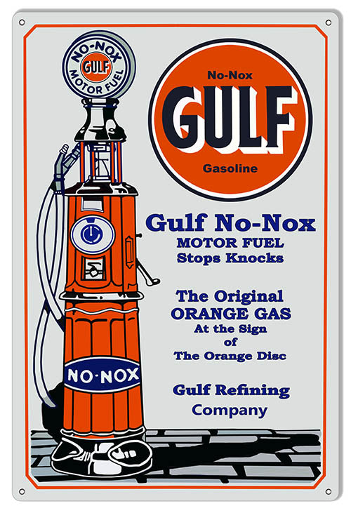 Gulf Gasoline Reproduction Motor Oil Metal Sign 12″x18″