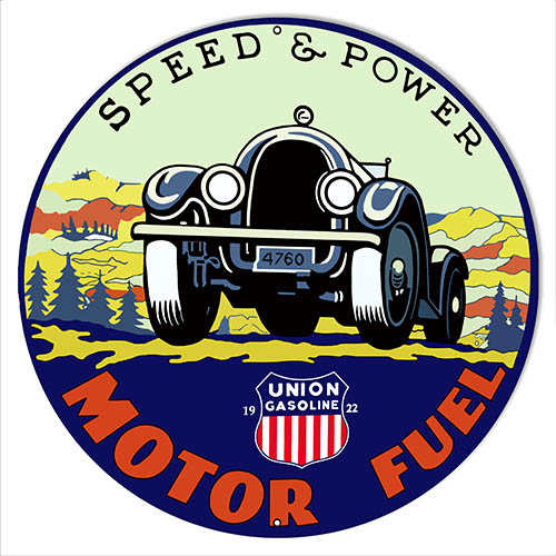 Union Gasoline Speed And Power Reproduction Motor Oil Sign 14″x14″ Round