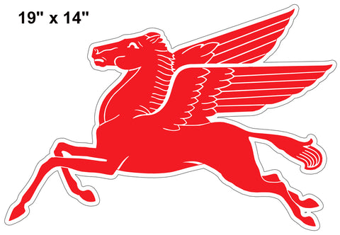 Pegasus Flying Horse Reproduction Laser Cut Out Motor Oil Sign 14″x19″